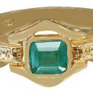 18k Yellow Gold Cushion Cut Emerald Bezel Set Art Deco Style 1.00ct