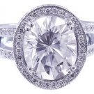 18K WHITE GOLD OVAL CUT  DIAMOND ENGAGEMENT RING ART DECO HALO 2.80CTW