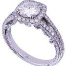 14k White Gold Round Cut Diamond Engagement Ring Art Deco Halo Prong Set 1.35ctw