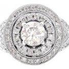 14K WHITE GOLD ROUND DIAMOND ENGAGEMENT RING ART DECO DESIGN 1.55CT H-VS2 EGL US