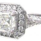 18K WHITE GOLD ASSCHER CUT DIAMOND ENGAGEMENT RING ART DECO ANTIQUE STYLE 1.84CT