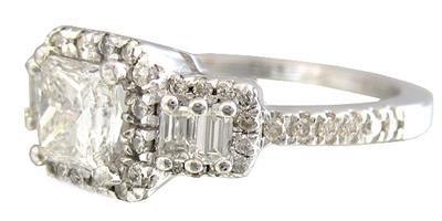 14K WHITE GOLD PRINCESS CUT DIAMOND ENGAGEMENT RING PRONG SET 1.60CTW