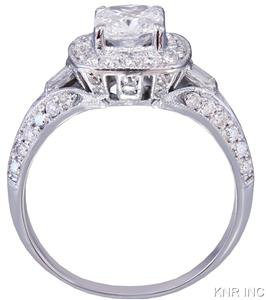 14k White Gold Cushion Cut Diamond Engagement Ring Art Deco Antique Style 1.70ct