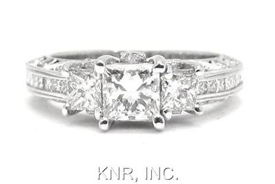 PRINCESS & ROUND DIAMOND ENGAGEMENT RING 2.43CT ANTIQUE