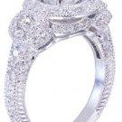 GIA H-VS2 18K White Gold Round Cut Diamond Engagement Ring Deco Halo 2.80ctw