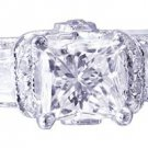 18K WHITE GOLD PRINCESS CUT DIAMONDS ENGAGEMENT RING DECO 1.90CTW H-VS2 EGL USA
