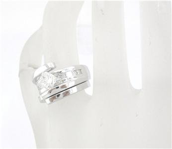 PRINCESS TENSION DIAMOND ENGAGEMENT RING & BAND 1.73CTW