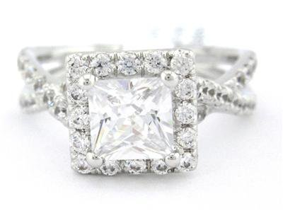 PRINCESS CUT DIAMOND ENGAGEMENT RING ART DECO 1.50CTW