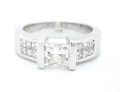 PRINCESS CUT DIAMOND ENGAGEMENT RING TENSION SET 1.52CT