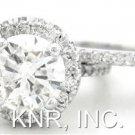 ROUND CUT DIAMOND ENGAGEMENT RING & BAND HALO 2.20CTW