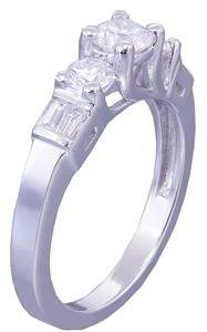 14k White Gold Round Cut Baguettes Diamond Engagement Ring Prong Set 1.08ctw