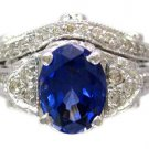 OVAL SAPPHIRE AND ROUND CUT DIAMOND ANTIQUE DECO STYLE RING AND BAND 2.65CTW