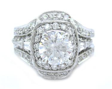 ROUND CUT DIAMOND ENGAGEMENT RING & BANDS 2.50CTW