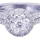 14k White Gold Round Cut Diamond Engagement Ring Art Deco Prong Set 1.39ctw