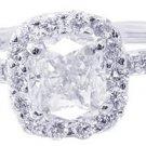 18k White Gold Cushion Cut Diamond Engagement Ring Art Deco Design Halo 1.30ct
