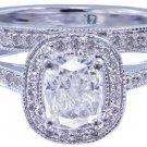 14k White Gold Cushion Cut Diamond Engagement Ring And Band Art Deco Halo 1.45ct
