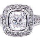 18K WHITE GOLD CUSHION CUT DIAMOND ENGAGEMENT RING BEZEL SET 1.80CTW