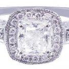 14k White Gold Cushion Cut Diamond Engagement Ring Prong Set Halo Deco 1.45ctw