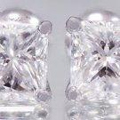 14k White Gold Princess Cut Diamonds Stud Earrings Screw Backs Prong Set 2.00ctw
