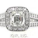 ASSCHER & ROUND CUT DIAMOND ENGAGEMENT RING 2.10CT 18K