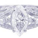 18K WHITE GOLD MARQUISE CUT DIAMOND ENGAGEMENT RING PRONG SET ART DECO 1.60CTW