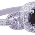 18K WHITE GOLD ROUND SAPPHIRE AND DIAMOND ART DECO ENGAGEMENT RING 2.40CTW