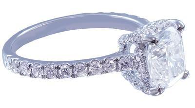 18K WHITE GOLD CUSHION CUT DIAMOND ENGAGEMENT RING ART DECO 1.85CT H-VS2 EGL USA