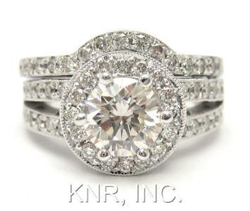 14K WHITE GOLD ROUND DIAMOND ENGAGEMENT RING & BAND DECO 1.80CTW