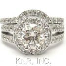 14K WHITE GOLD ROUND DIAMOND ENGAGEMENT RING & BAND DECO 1.80CTW