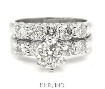 18K WHITE GOLD ROUND DIAMOND ENGAGEMENT RING & BAND DECO 2.08CTW