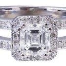 GIA H-VS2 14k White Gold Asscher Cut Diamond Engagement Ring Halo Deco 1.55ctw