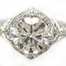 14K WHITE GOLD ROUND CUT DIAMOND ENGAGEMENT RING ANTIQUE DECO 1.55CTW