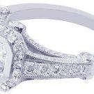 18K WHITE GOLD ASSCHER CUT DIAMOND BEZEL ENGAGEMENT RING 1.85CTW H-VS2 EGL USA