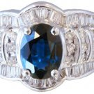 14K WHITE GOLD OVAL CUT SAPPHIRE AND DIAMONDS ENGAGEMENT RING 2.25CTW