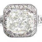 18K WHITE GOLD CUSHION CUT DIAMOND AND SAPPHIRE ENGAGEMENT RING ART DECO 2.25CTW