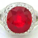 5.90CT CUSHION RUBY & ROUND DIAMONDS DESIGNER RING