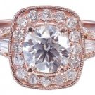 14k Rose Gold Round Cut Diamond Engagement Ring Antique Style Prong Set 1.75ctw