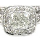 14K WHITE GOLD CUSHION CUT DIAMOND ENGAGEMENT RING AND BAND BEZEL SET 1.76CTW