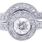 14K WHITE GOLD ROUND CUT DIAMOND ENGAGEMENT RING AND BAND BEZEL SET 2.10CTW