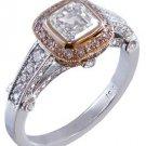 GIA I-VS2 18K WHITE GOLD ASSCHER CUT PINK DIAMOND BEZEL ENGAGEMENT RING 1.65CTW