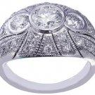 14k White Gold Round Cut Diamond Engagement Ring Bezel Set Art Deco Halo 1.45ctw