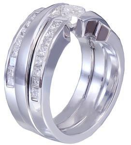 14k white gold princess diamond engagement ring bands tension 1.70ctw H-VS2 EGL