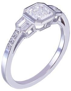 14K White Gold Asscher Cut Diamond Engagement Ring Bezel Set 1.40ct H-VS2 EGL US