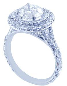 14k White Gold Round Cut Diamond Engagement Ring Art Deco Double Halo 1.65ctw