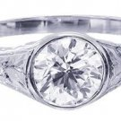 GIA H-SI1 18k White Gold Round Diamond Engagement Ring Bezel Set Deco 0.95ct