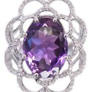 14k White Gold Oval Cut Amethyst And Diamonds Anniversary Ring 7.50ctw