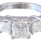 14K WHITE GOLD PRINCESS CUT DIAMOND ENGAGEMENT RING PRONG 1.60CTW H-VS2 EGL USA