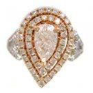 18K WHITE AND ROSE GOLD PEAR SHAPE DIAMOND ENGAGEMENT RING  ART DECO 1.20CTW