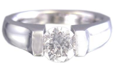 14K WHITE GOLD ROUND CUT DIAMOND ENGAGEMENT RING TENSION SET 0.75CT H-VS2 EGL US