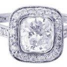 18K WHITE GOLD CUSHION CUT DIAMOND ENGAGEMENT RING BEZEL SET AR DECO 1.60CTW